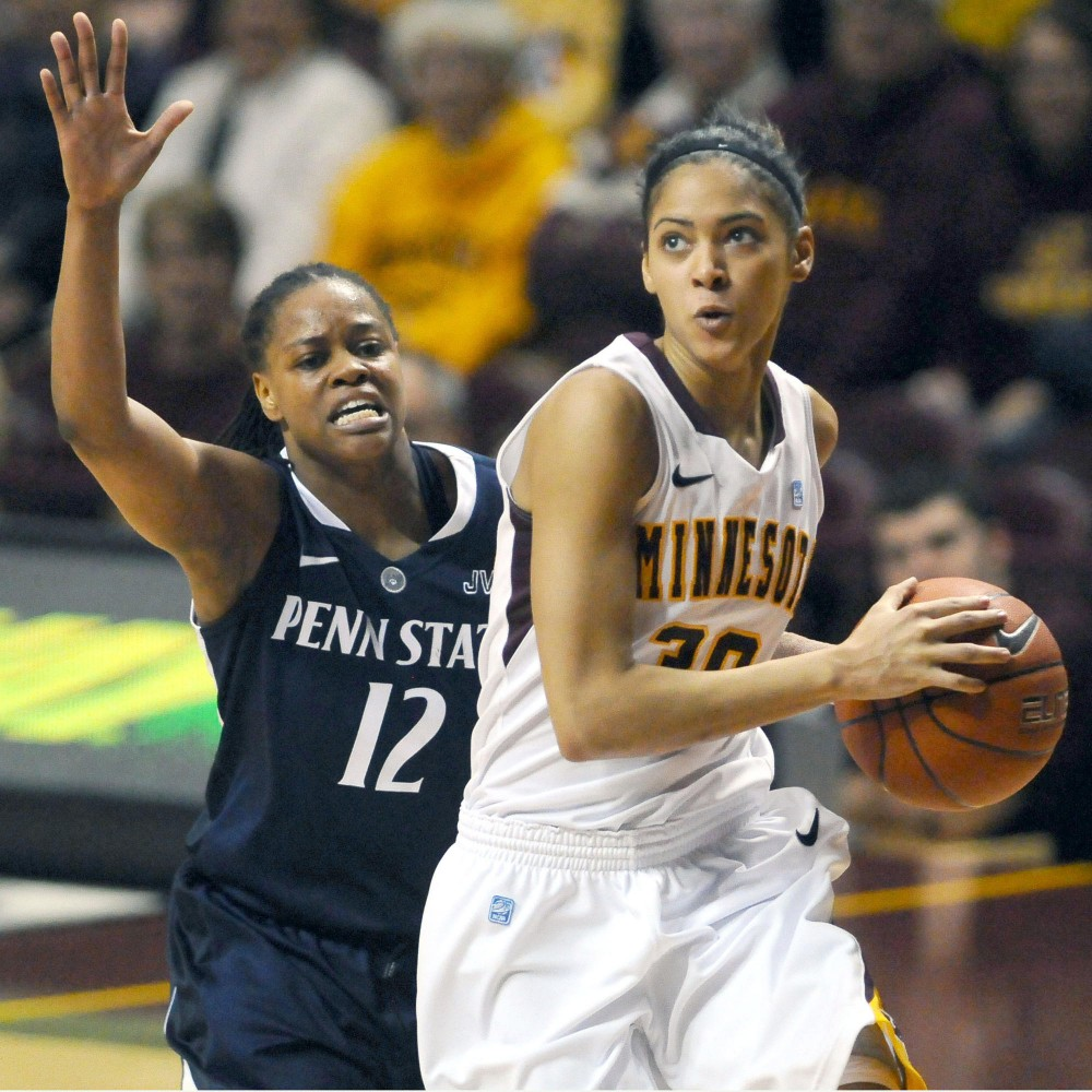 Minnesota guard Kiara Buford goes for a layup on Sunday at Williams Arena. Minnesota lost Penn State 68-65.