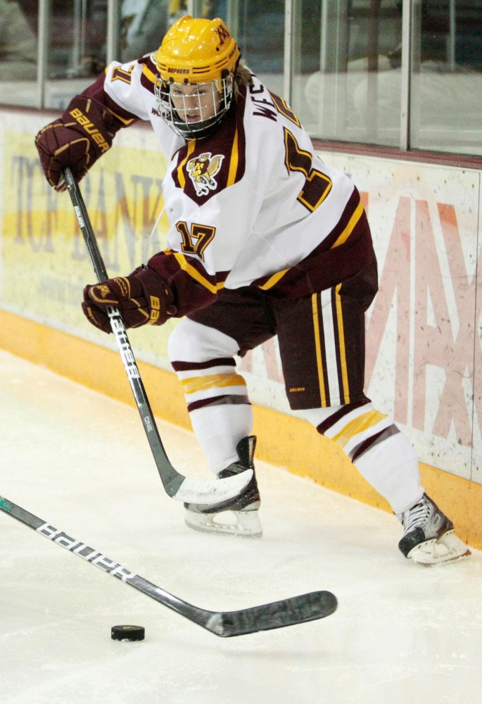 Minnesota forward Emily west plays against Bemidji State on Jan. 20 at Ridder Arena.  West suffered a severe knee injury last season that forced her from all but four games but has returned healthy and productive this year.