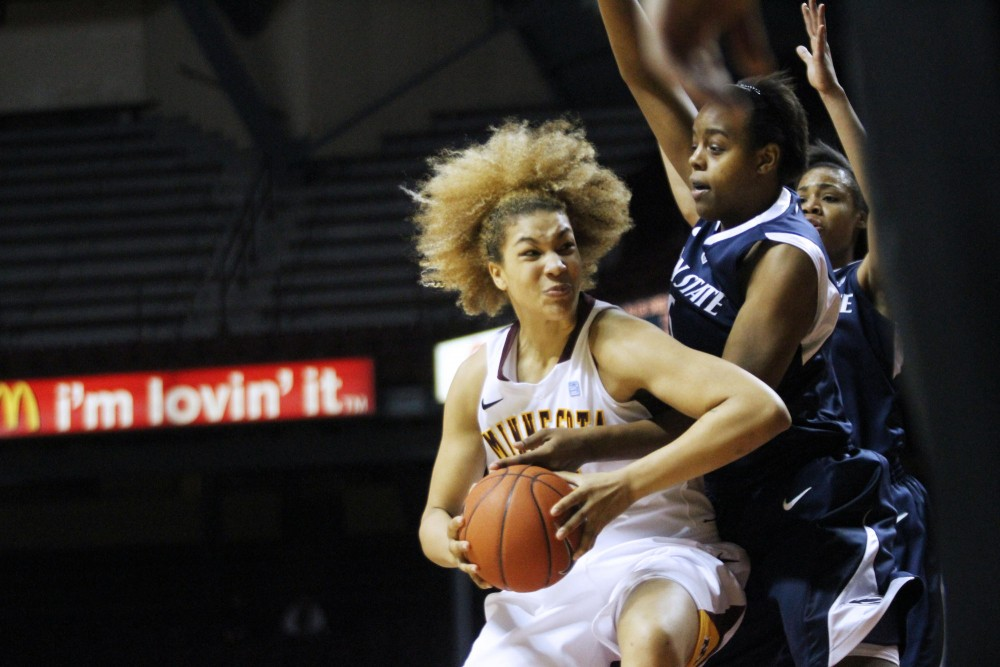 Minnesota forward Micaëlla Riché tries to protect the ball from Penn State forward Talia East on Sunday at Williams Arena. Minnesota lost to Penn State 68-65.