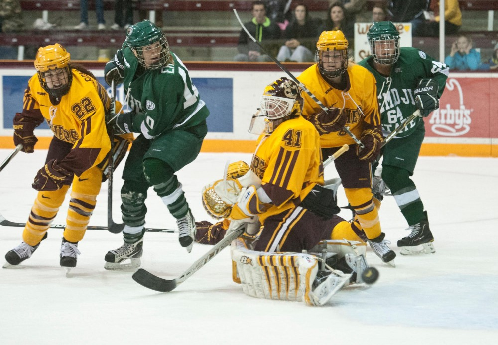 Minnesota goalie Noora Raty blocks a shot during a game against Bemidji State on Jan. 21 at Ridder Arena.