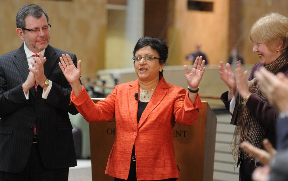 New Dean of the Carlson School of Management Sri Zaheer speaks about her vision for the school at a press conference Thursday morning at the Carlson School.  Zaheer has been acting as the interim dean of the school since July.