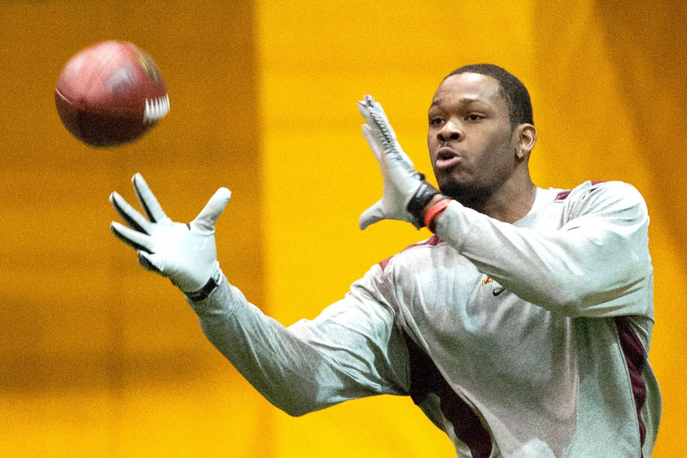 Da'Jon McKnight hauls in a pass Monday at Minnesota's Pro Day. McKnight had a team-high 51 receptions in his senior season with the Gophers.