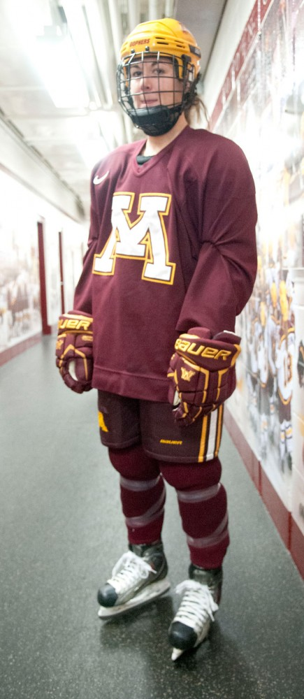 Minnesota senior captain Jen Schoullis prepares for practice Tuesday afternoon at Ridder Arena. The Gophers host North Dakota in the first round of the NCAA Tournament on Saturday.