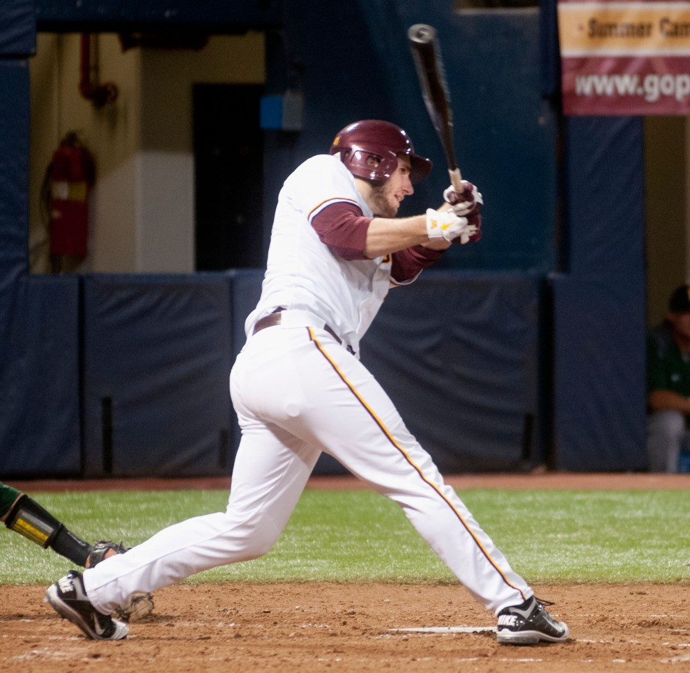 Gophers third baseman Dan Olinger bats against North Dakota State on Tuesday. Olinger was 1-for-4 with an RBI against the Bison on Wednesday.