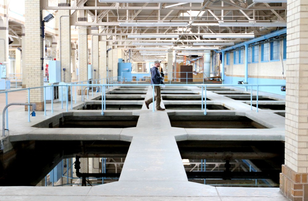 The filtration building at the Fridley Water Treatment Plant is one of the last stops in the process for cleaning water before it is sent out to Minneapolis.