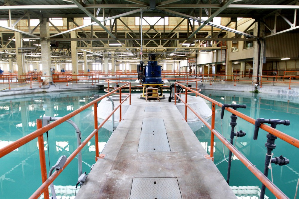 Pools hold water in one of the early steps of the water treatment process at the Fridley Water Treatment Plant. The pools, called spaulding precipitators, filter out organic waste.
