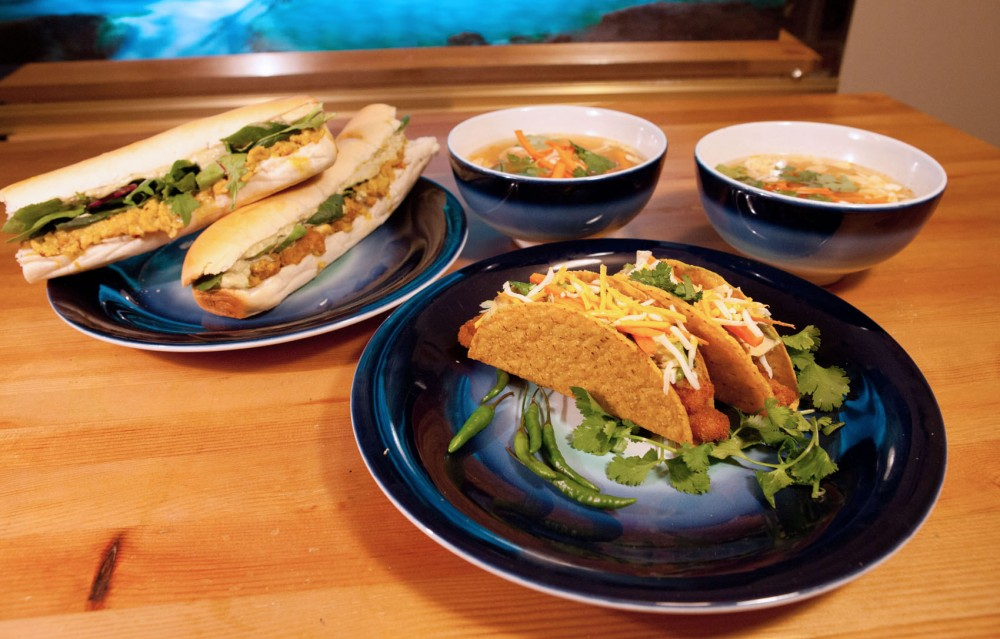 Fish sticks don't need to be just fish sticks. Turn a simple, ordinary ingredient into something brilliant. On the top left we have two fish po' boys, to the right of them we have Thai spicy fish soup, and at the center we have fish tacos.