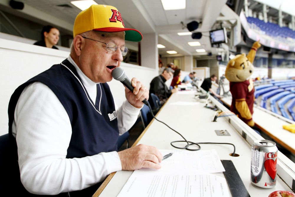 Dick Jonckowski entertains fans during a Gophers baseball game on March 25 at the Metrodome.  Jonckowski is in his 24th year announcing Gophers baseball.