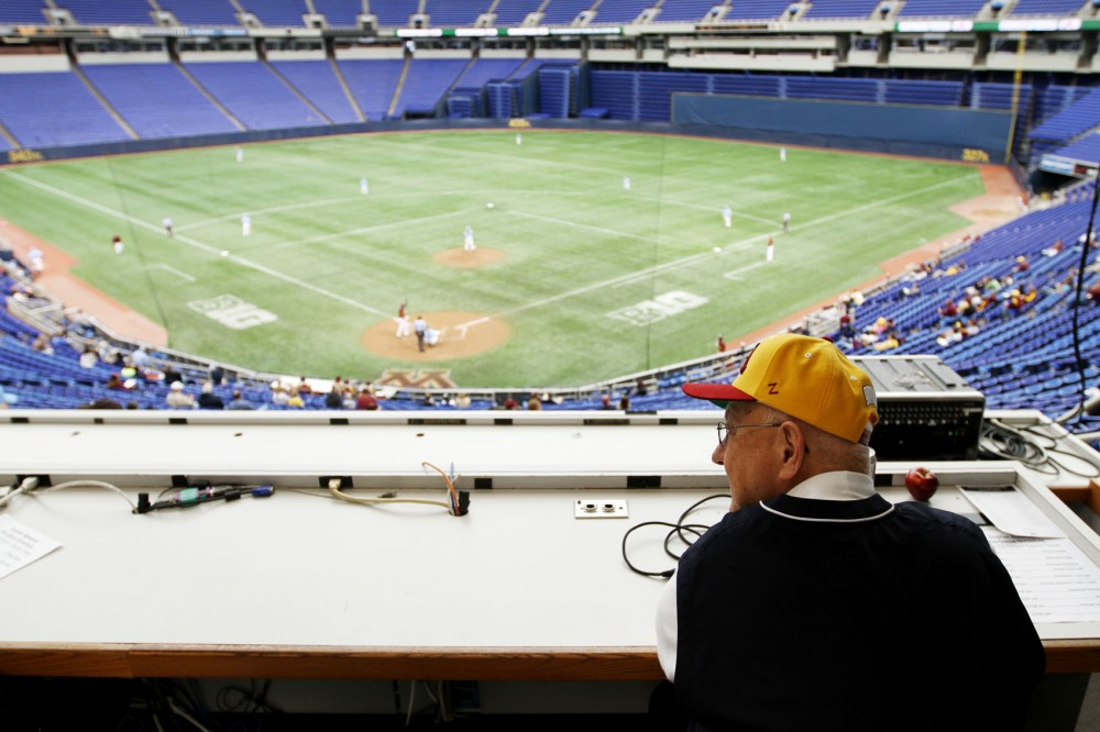 Jonckowskis booming voice fills the Metrodome from the press box during a Gophers baseball game on March 25.