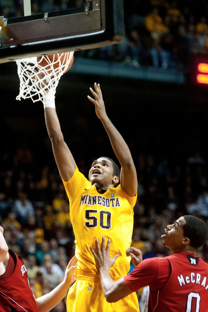 Gophers senior Ralph Sampson III takes a shot during a game against Nebraska Saturday at William Arena.
