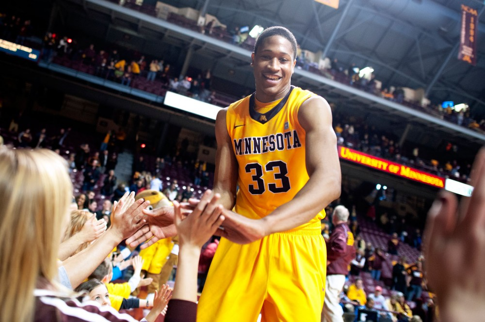 Minnesota forward Rodney Williams celebrates with fans at Williams Arena following the team's win March 3 against Nebraska. Williams has averaged 17.9 points in his last seven games.
