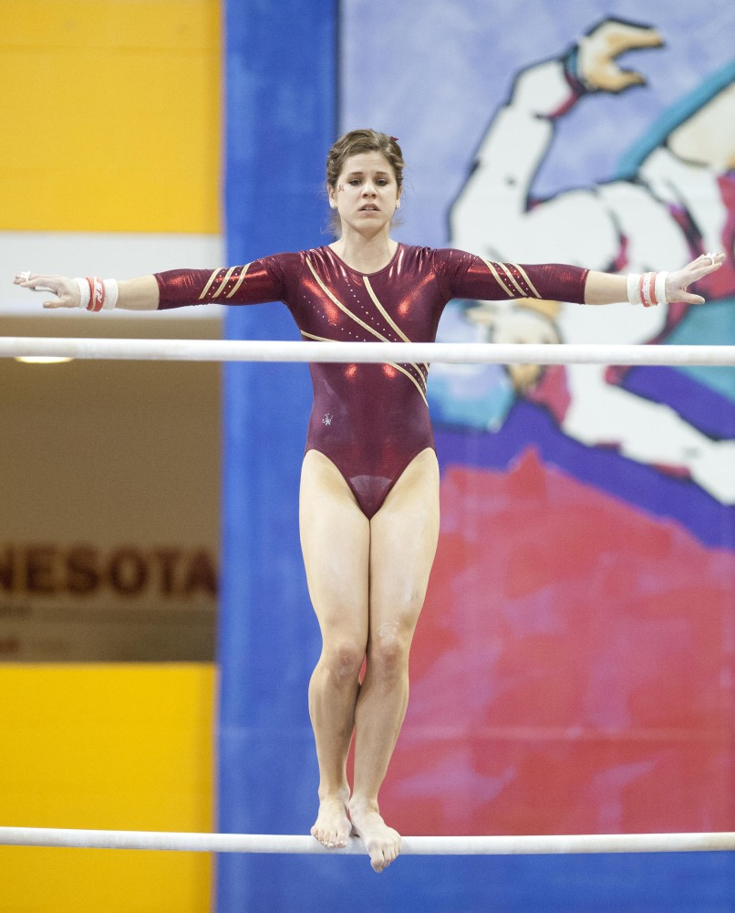 Lucy Ennis scored a 9.875 on vault in a four-way tie for second. The senior stepped in for injured teammate Dusti Russell. The Gophers won over Denver, Iowa and Arizona State with 196.225 points.