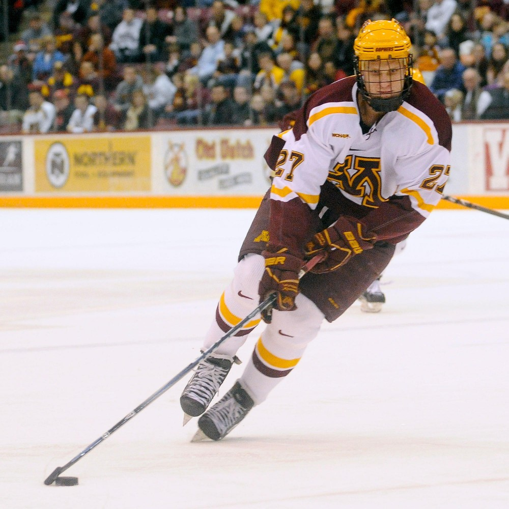 Gophers sophomore Nick Bjugstad handles a puck Feb. 17 during a game against Bemidji State at Mariucci Arena.