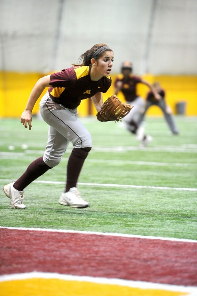 Kaitlyn Richardson practices with her team on Tuesday at the Gibson-Nagurski Football Practice Facility.