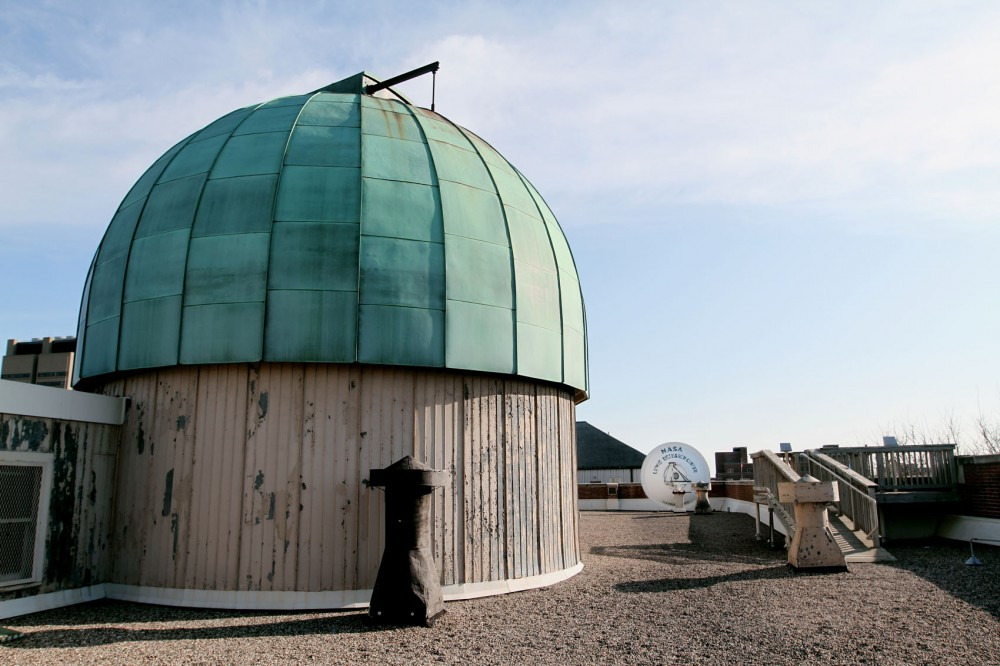 The dome on top of the Tate Laboratory of Physics building encloses the refracting telescope and can be opened and rotated. The rooftop of Tate is also used for atmospheric observations with small reflecting telescopes.