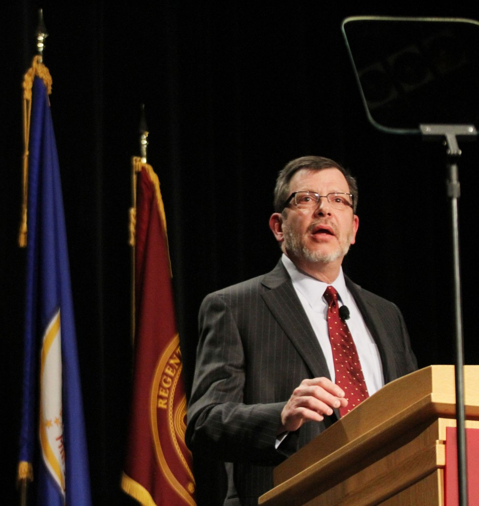 University President Eric Kaler delivered his State of the University address to students, faculty, legislators and others Thursday at the Coffman UnionTheater. Kaler suggested implementing a year-round academic calendar.