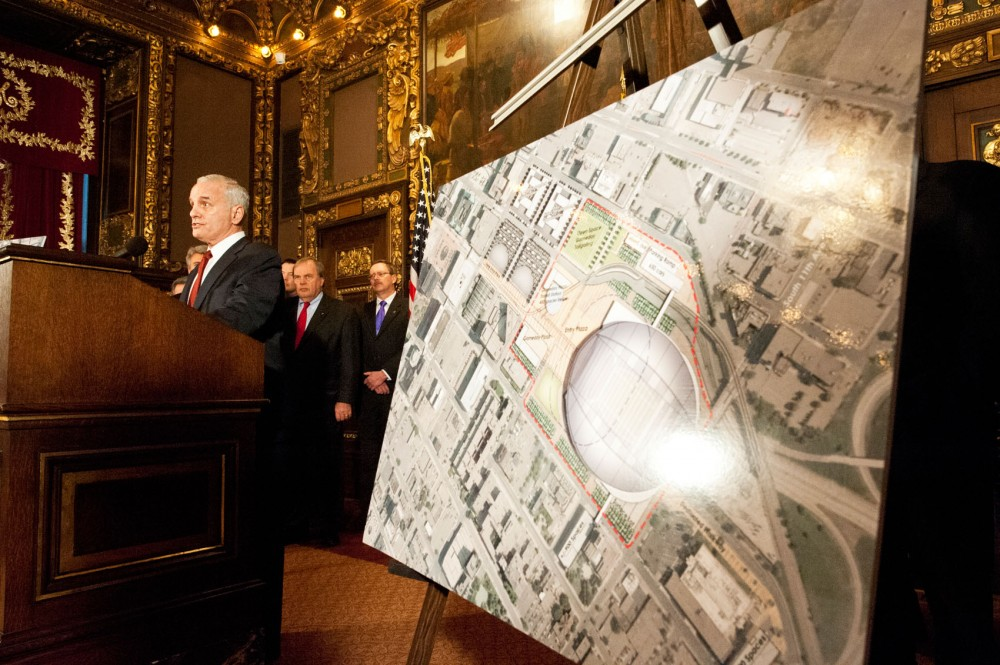 Gov. Mark Dayton speaks about a deals reached among legislative leaders for a new Vikings stadium during a press conference Thursday at the state Capitol.