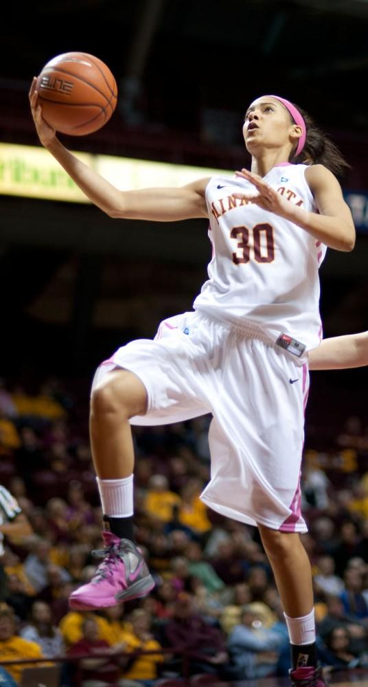 Minnesota guard Kiara Buford goes up for a basket against Nebraska Feb. 13 at Williams Arena.