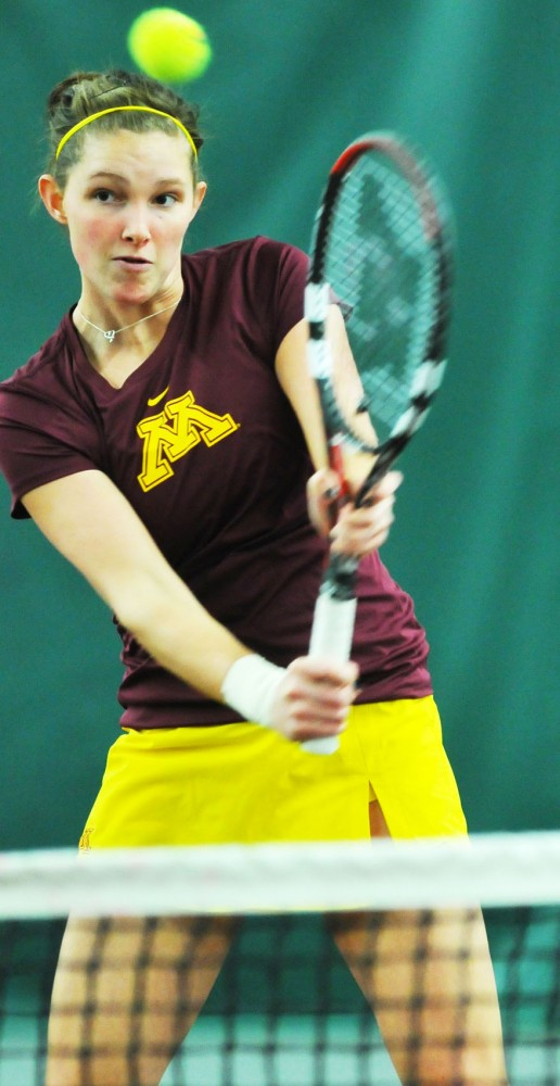 Alexa Palen plays against Wisconsin on March 4, 2011 at the Baseline Tennis Center.