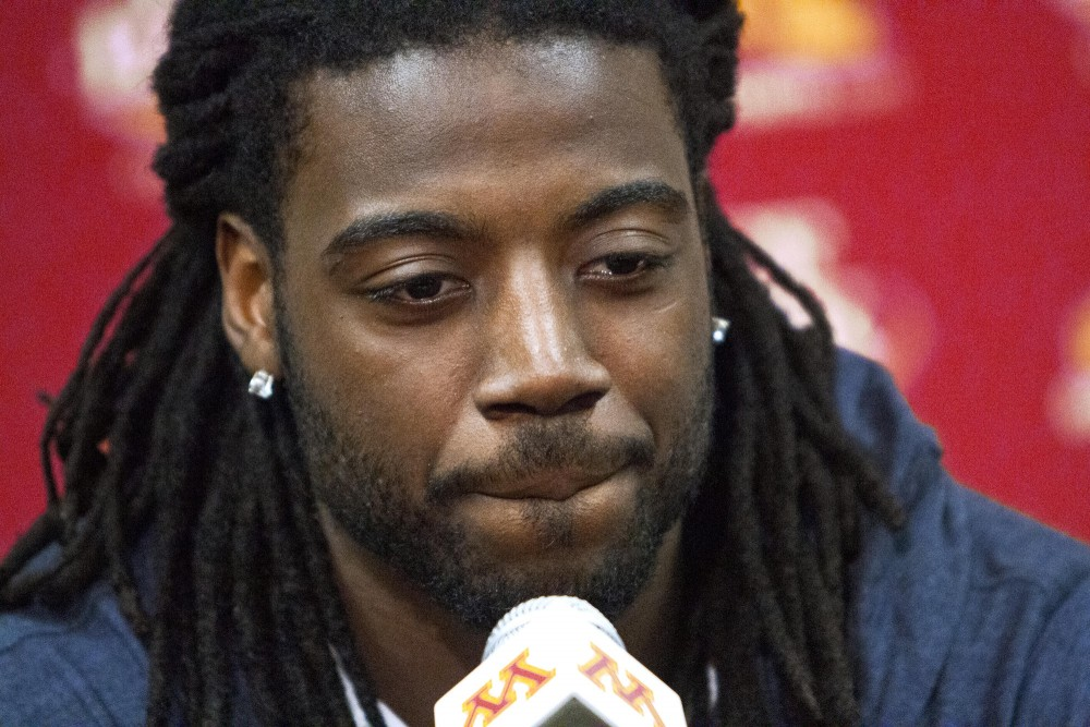 Minnesota quarterback Marqueis Gray spoke to the brotherhood he and Tinsley shared, during a press conference discussing Minnesota linebacker Gary Tinsleys death.