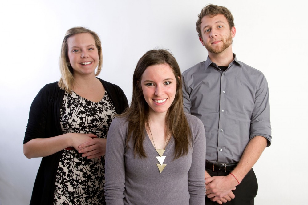 From left to right, incoming editor in chief Cali Owings, incoming president Morgan Hay-Chapman and incoming business operations officer Nathan Moen will lead the Minnesota Daily for 2012-13.