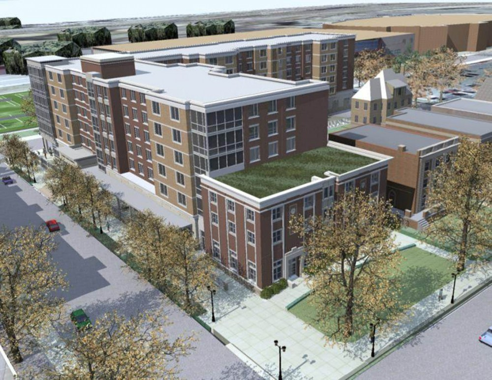 The residence hall at 1701 University Ave. will have a vegetative roof that recycles water. The building will open in fall of 2013.