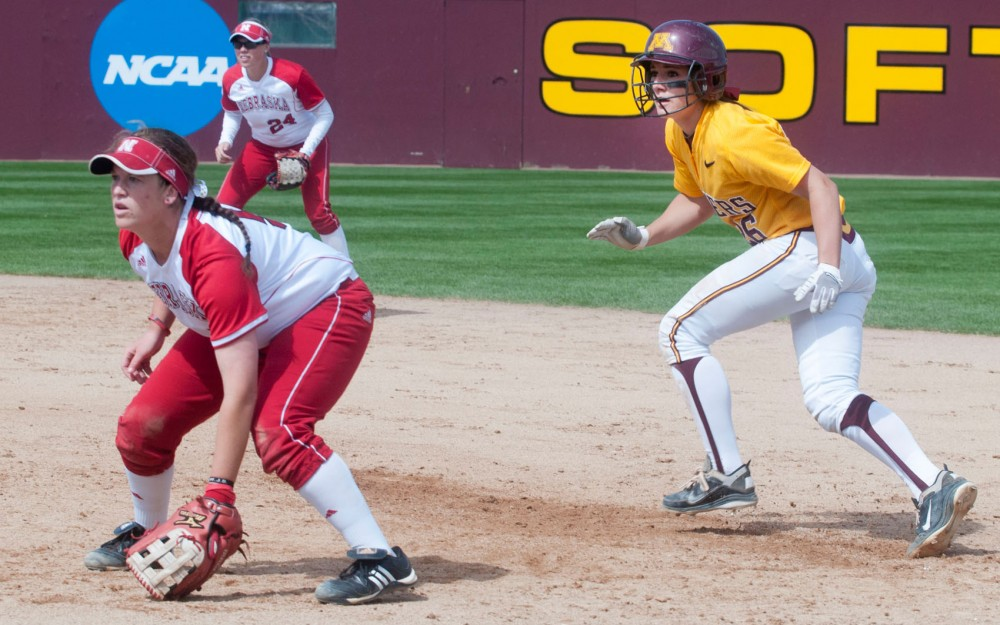 Gophers freshman Kaitlyn Richardson prepares to run to second base during a Sunday afternoon game against Nebraska. Richardson went 6-for-12 with seven runs, six RBIs and two home runs.