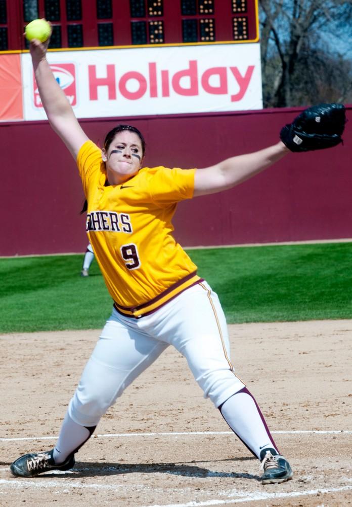 Gophers starter Sara Moulton delivers a pitch in a game against Nebraska April 1 at Jane Sage Cowles Stadium.