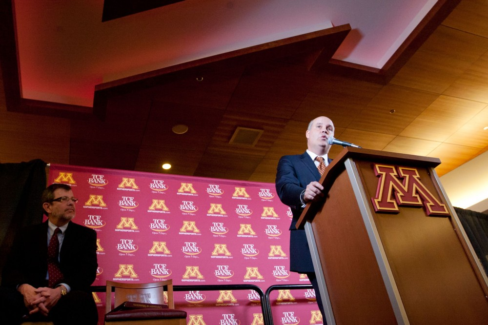 Norwood Teague addresses the media Monday during a press conference announcing his hiring at TCF Bank Stadium.