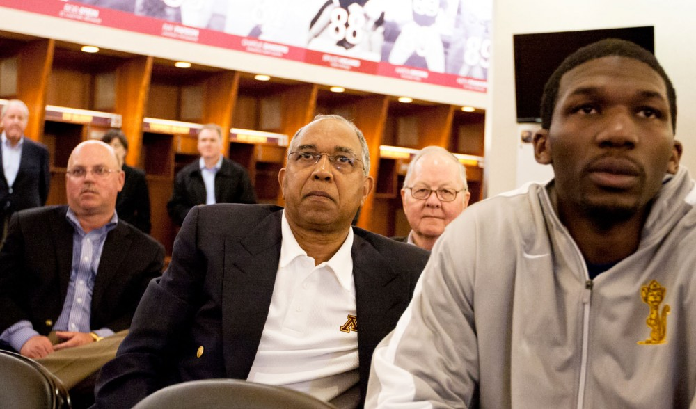 Gophers head football coach Jerry Kill, head men's basketball coach Tubby Smith and men's basketball star Trevor Mbakwe attend a press conference Monday announcing Teague as the new AD. Football and men's basketball are two of the University's three revenue sports.