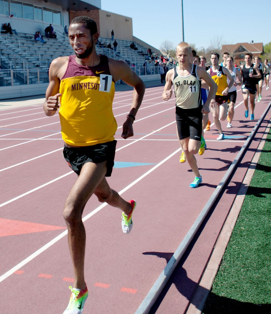 Three-time All-American Hassan Mead bursts ahead of the competition and never gives up his lead in the men's 1500-meter race Friday at Hamline University.