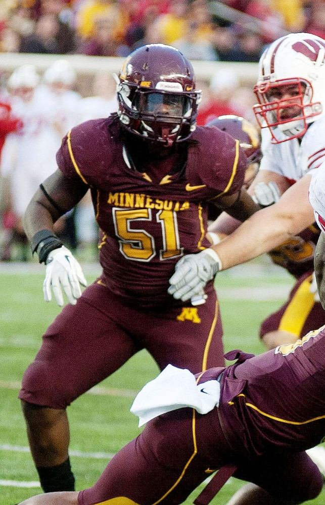 Minnesota linebacker Gary Tinsley plays in a game against Wisconsin Nov. 12, 2011 at TCF Bank Stadium.