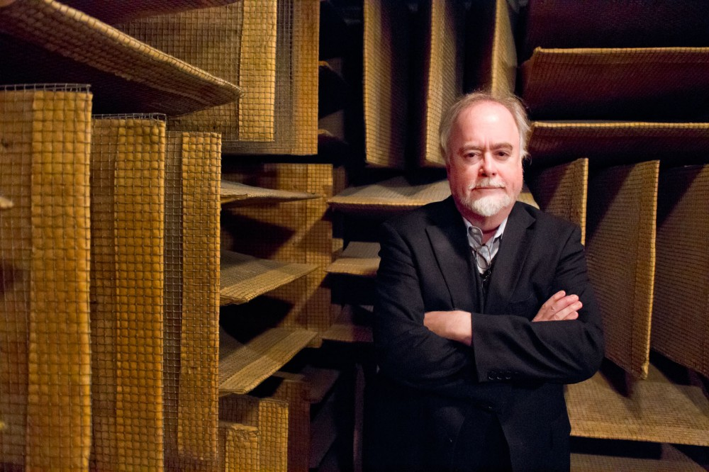 Steve Orfield stands in the anechoic chamber located inside his research facility, Orfield Labaorties, located in the West Bank/Seward neighborhood.  The chamber was awarded a Guiness Book record for its negative decibel sound, and is often referred to as the world's quietest room.  Orfield has long been noted for the testing and research done out of his facilities.
