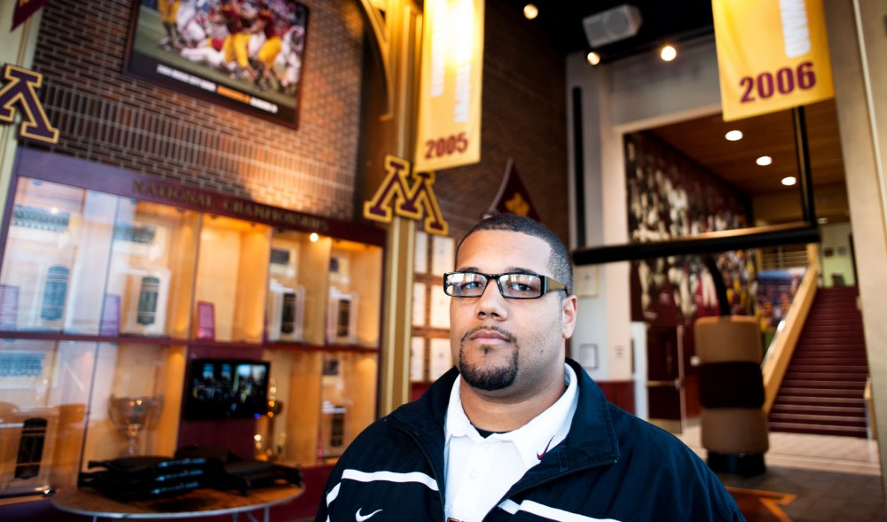 Mike Sherels poses for a portrait Thursday at the Gibson-Nagurski Football Complex. Sherels, a former Gophers linebacker, is a special assistant to head coach Jerry Kill and head of alumni relations for Gophers football.