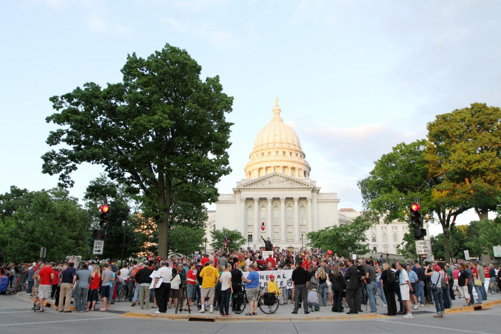 A crowd of hundreds gathers on the front steps of the Wisconsin State Capitol after the polls officially closed on the June 5 recall election.