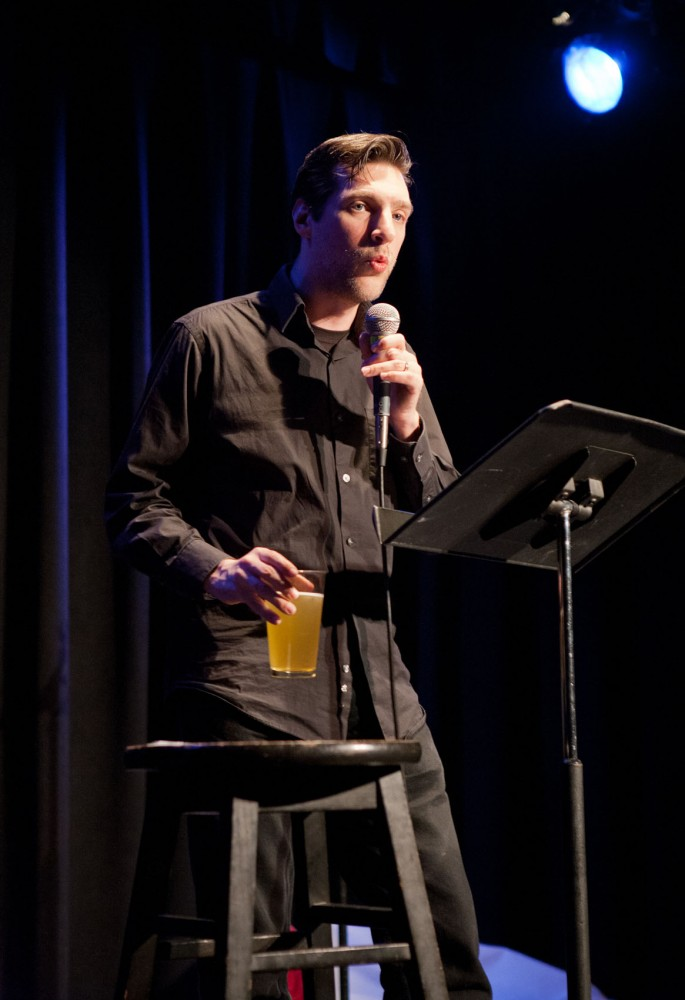 "Local writer and comedian Joseph Scrimshaw performs during Rockstar Storytellers: The Next Level on Sunday at the Bryant- Lake Bowl. Scrimshaw will be back at Bryant-Lake for a live recording of his podcast, ""Obsessed"", on Friday."