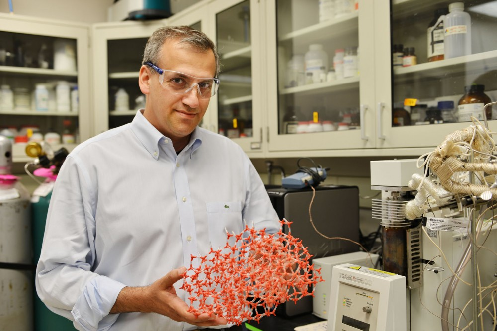Lead researcher and professor Michael Tsapatsis poses Tuesday with the model of the enzyme he has been researching in Amundson Hall. The enzyme can increase the efficiency of chemical reactions, which could reduce costs in fuel, pharmaceutical and other chemical industries.