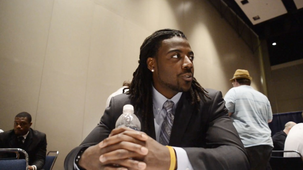 Minnesota quarterback MarQueis Gray discusses the future of the team and his role as a leader with reporters during Big Ten Football Media Days on Friday in Chicago.