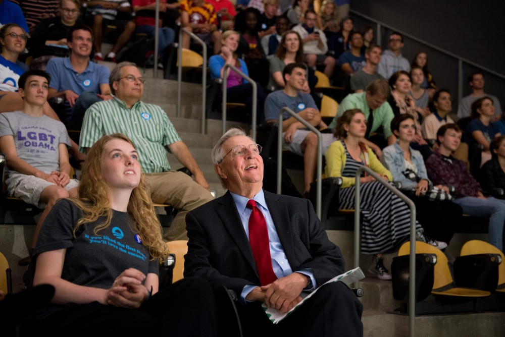 Students for Obama president Laura Pratt and former U.S. vice president Walter Mondale watch a video stream from the Democratic National Convention on Thursday evening in Rapson Hall. Mondale encouraged students to involve themselves in the political process this fall.