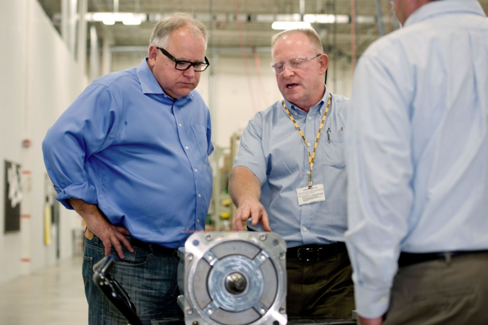 First District Rep. Tim Walz, left, and company manager Patrick Wilson tour Parker Hannifin last Thursday in New Ulm, Minn.
