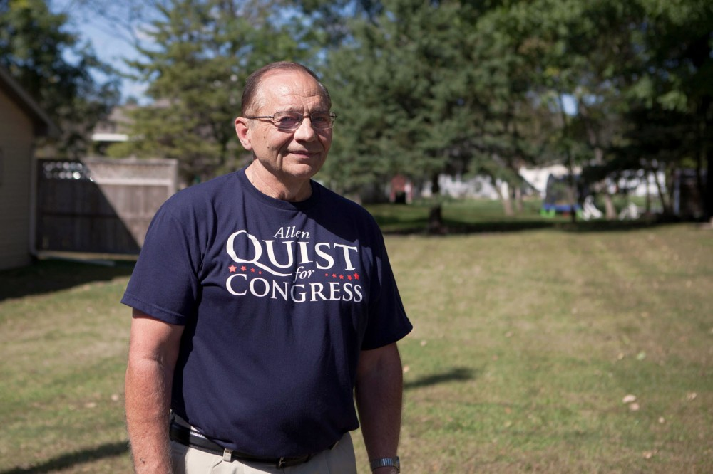 Allen Quist poses in Mantorville, Minn. on Sunday morning after participating in a city parade. Quist is running against Rep. Tim Walz this fall to represent the 1st congressional district.