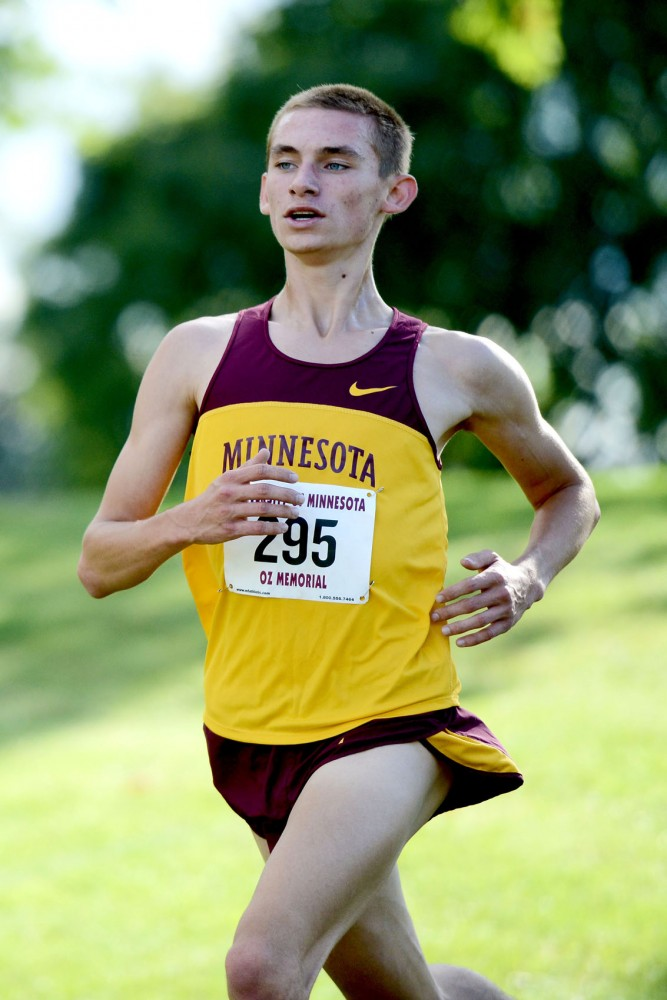Freshman Alex Brend runs at the Oz Memorial meet Sept. 7. Brend was the top team finisher at the event.