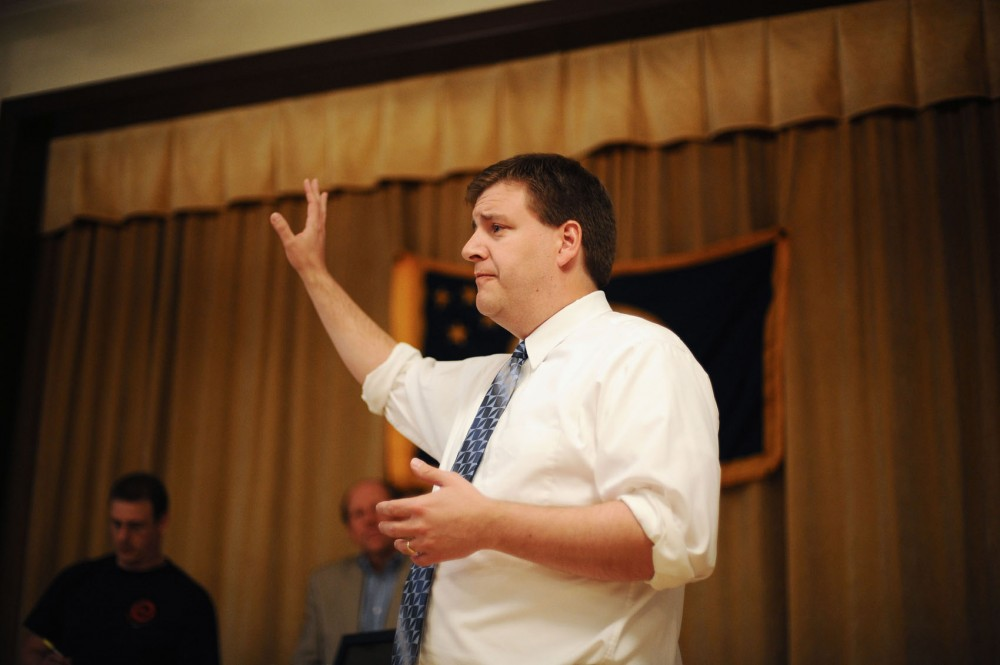 Congressional District 2 candidate Mike Obermueller speaks to members of United Transportation Union Local 650  Wednesday evening in South St. Paul, Minn. Obermueller, a Democrat, is running against Republican incumbent John Kline.
