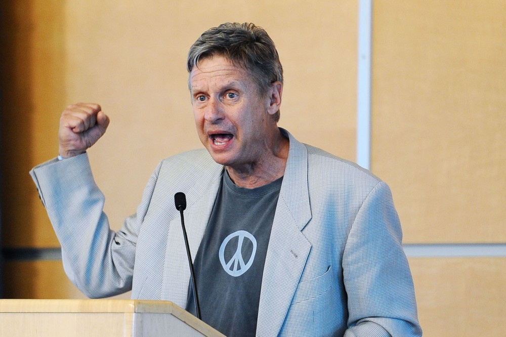Former New Mexico Governor Gary Johnson speaks to a crowd at Macalester College on Friday in St. Paul, Minn. Johnson is running as the Libertarian presidential candidate.