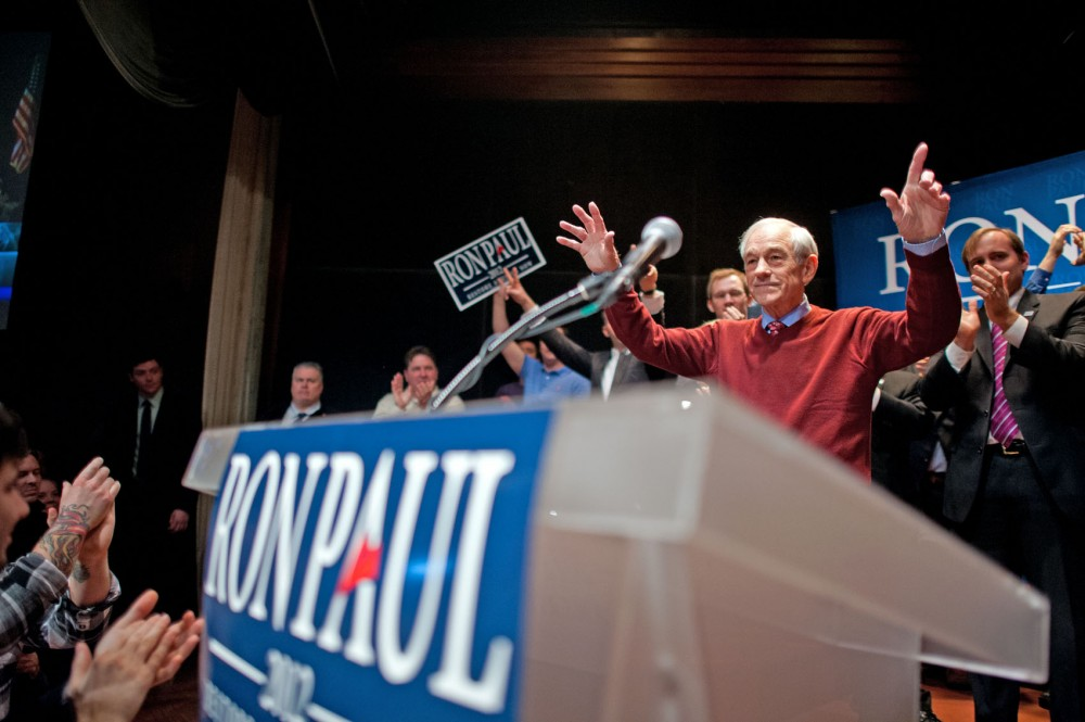Ron Paul thanks supporters at his post-caucus party Feb. 7 at Golden Valley Metropolitan Ballroom and Clubroom.