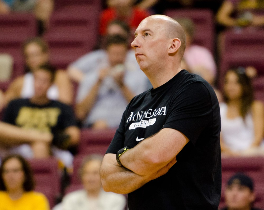 Minnesota head coach Hugh McCutcheon watches his team play against Miami on Saturday at the Sports Pavilion.