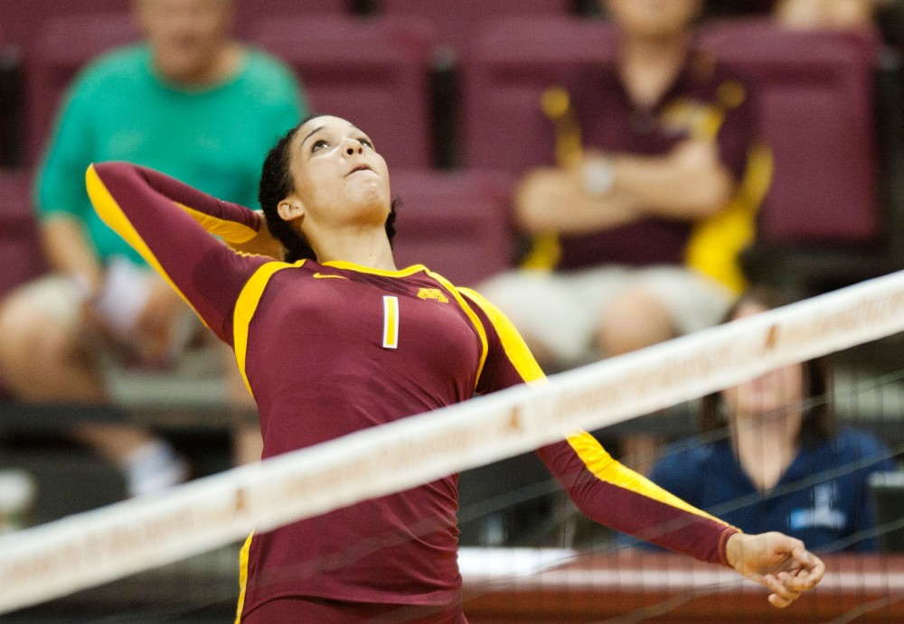 Minnesota outside hitter Daly Santana spikes against Miami on Sept 1 at the Sports Pavilion.