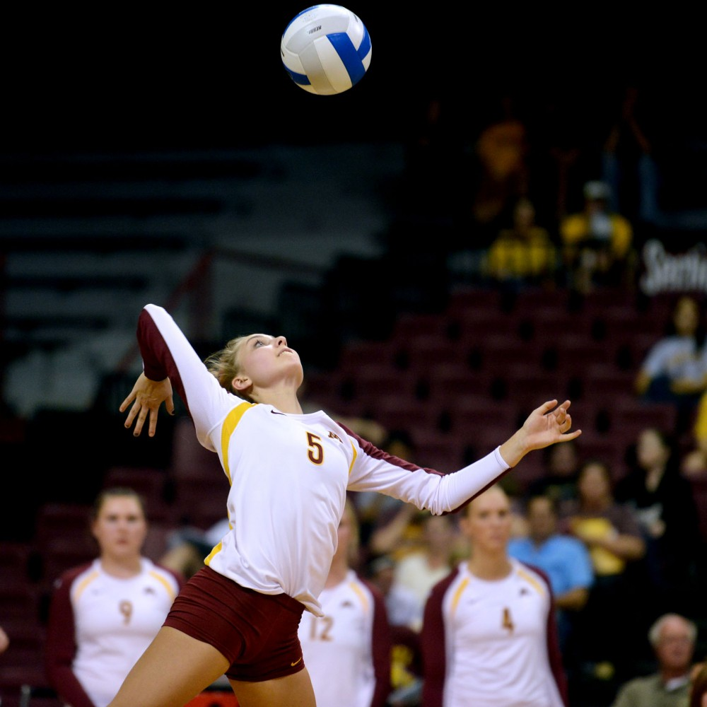 Minnesota libero Kalysta White serves during a match against North Dakota State on Sept. 10 at the Sports Pavilion. White started her volleyball career in eighth grade and is mainly a serving and defensive specialist for the Gophers.