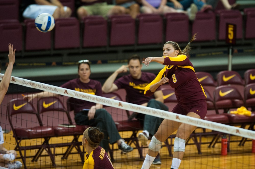 Minnesota outside hitter Katherine Harms spikes against Miami on Sept. 1 at the Sports Pavilion.