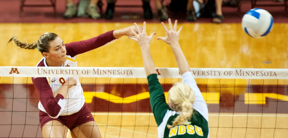 Minnesota outside hitter Katherine Harms plays against NDSU on Sept. 10 at the Sports Pavilion.